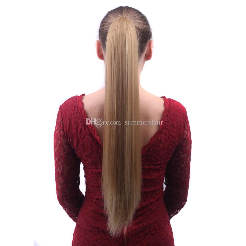 Multi Color Long Straight Synthetic Ponytail with Claw Clip Hair Extension Cheap Styling Pony Tail Hairpiece