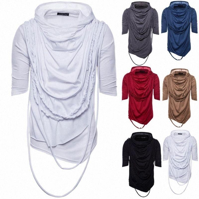 2019 Ouma vêtements d'été tendance à manches courtes avec capuche T-shirt col Heap Hip Hop MENS porter des manches Yt001 xRTL #