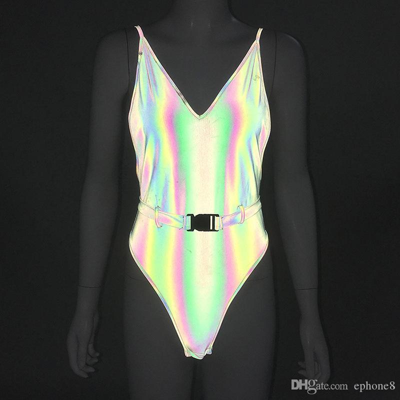 2019 горячая новая летняя женская одежда сексуальная глубокая V-ray светоотражающая соединенная одежда высокое качество известный дизайн Бесплатная доставка