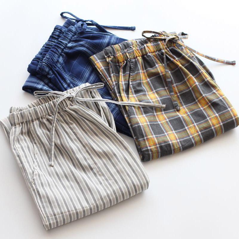 Uzun Pantolon Erkekler Bahar Yaz 000% Pamuk Gazlı Bez Gevşek Pijama Pantolon Ince Çift Katmanlı Gazlı Bez Salonu Pantolon Pijama Kadınlar Için