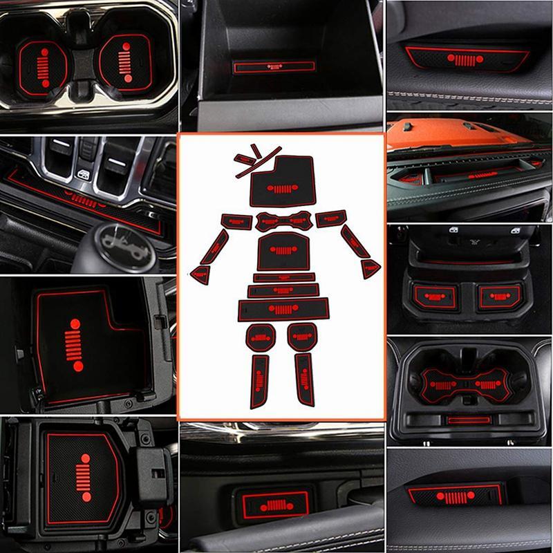 Non-Slip Gate Slot Mats Latex Door Pad Cup Mat for Wrangler Jl 2020 2020 Interior Parts Accessories(Red)