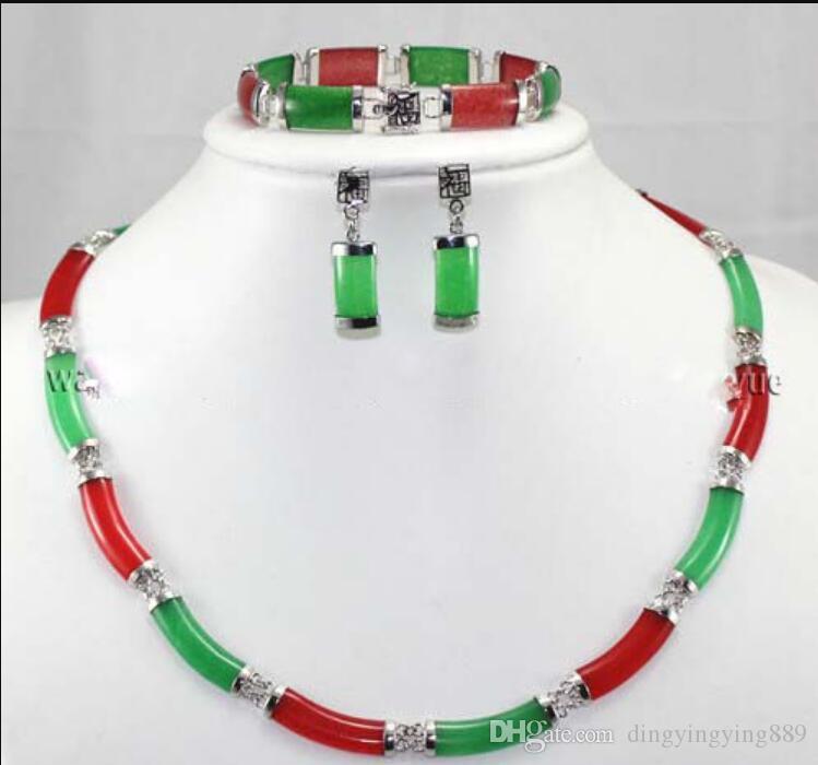 jóias venda quente novo - brincos Charming Red Green Jade Fazer a ligação Colar Pulseira