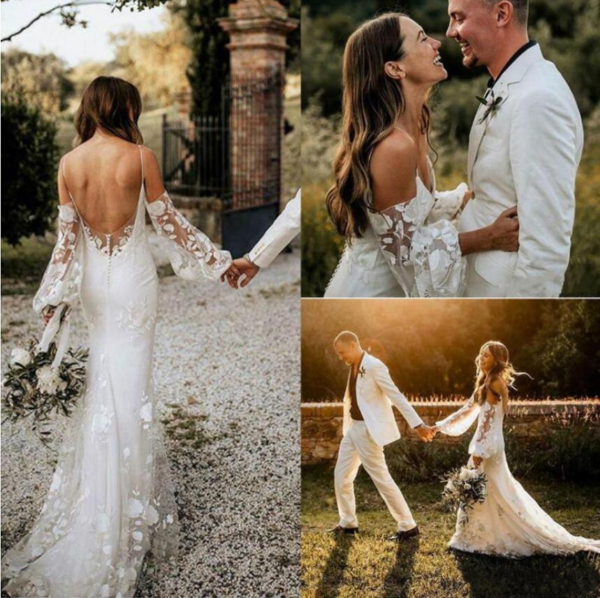 2019 Bohemia boda vestidos de espagueti vestido de novia de Boho correas de encaje sin espalda barrido sirena del tren vestidos de novia vestido de Noiva