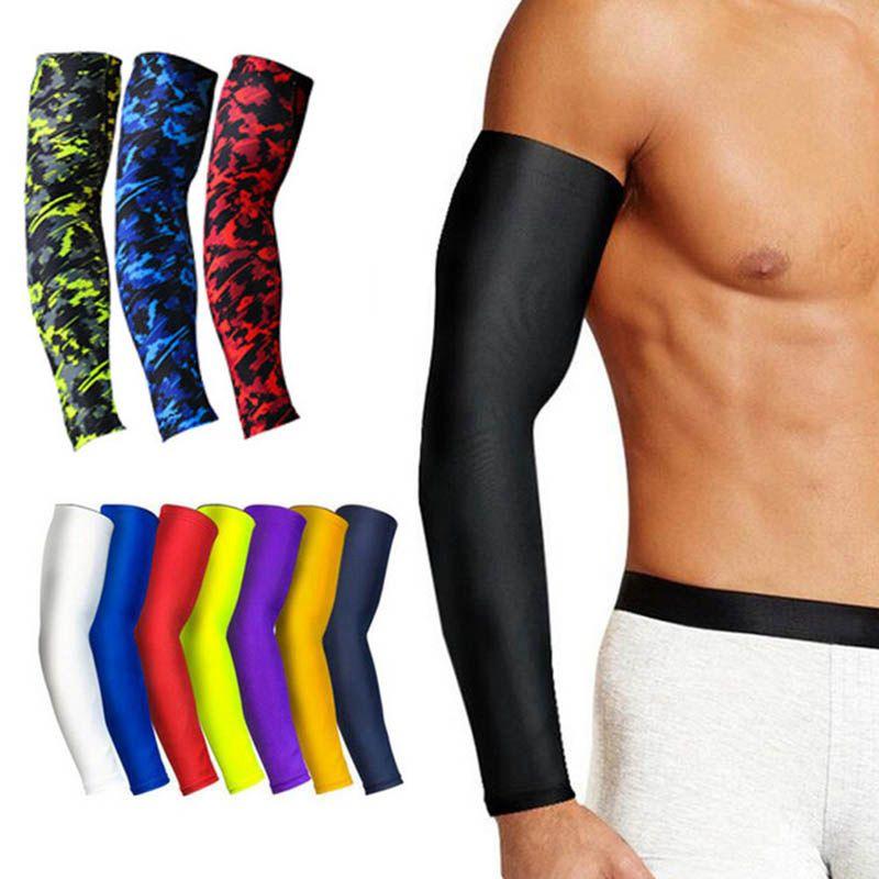 1Pcs дышащий Quick Dry Защита от ультрафиолетовых лучей Running Arm рукава Баскетбол Elbow Pad Фитнес наручи Спорт Велоспорт митенки