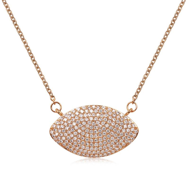 WEIMANJINGDIAN neue Ankunfts-Zirkonia CZ Micro Pave Einstellung Oval-Anhänger-Halskette für Frauen in Rose Gold Farbe