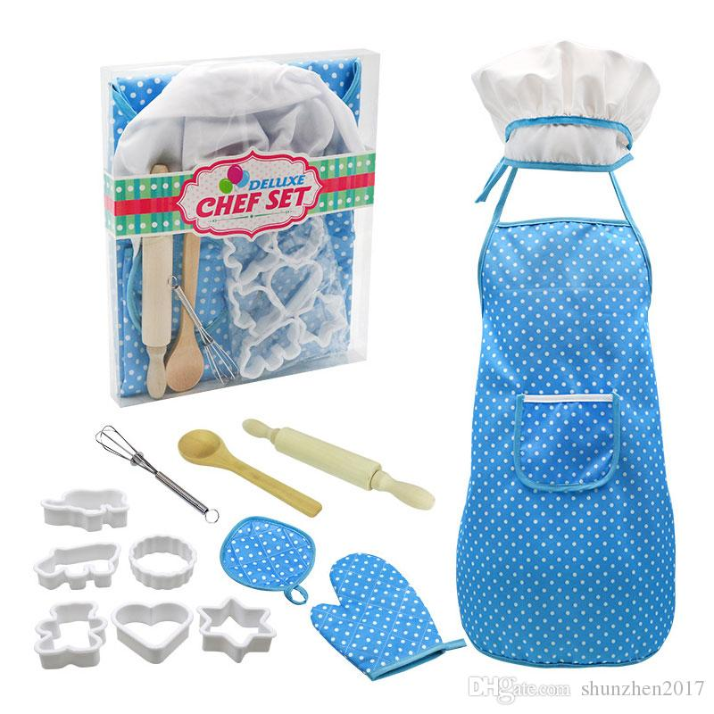 Cozinha Toy Children Cozinhar Eggbeater pino do rolo Kitchen Supplies Set Chef Set Play Set Com avental Chef Hat