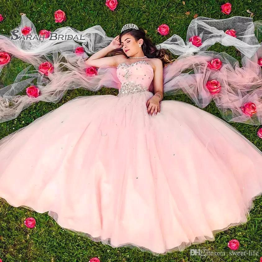 2020 Sweety Pink Tulle Evening Dress Backless Quinceanera Dresses Party Ball Gown Plus Size Elegant Strapless Beaded Top