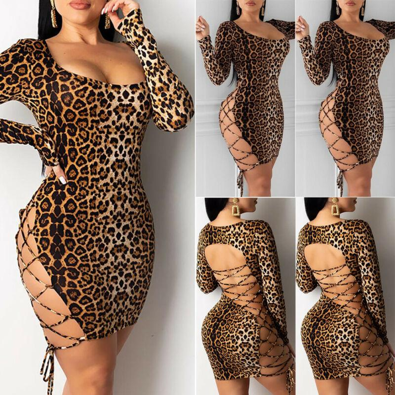 Robe d'été Sexy Cross Bandage Backless imprimé léopard Robe Femmes manches longues imprimé animal Party Club Bodycon Vestidos