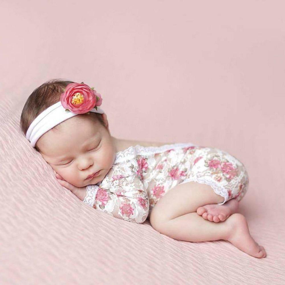 Neugeborene Fotografie Props Baby-Spitze-Spielanzug-Rosen-Druck Blumen Kleinkinder einteiliges Baby Fotoshooting Accessoires