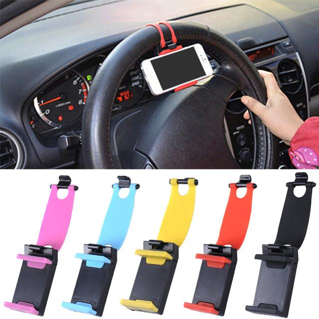 universal Car Steering Wheel cell phone Holder Telescopic Clip car Mount GPS Navigation bracket for iphone Samsung 5.5-8cm cell phone