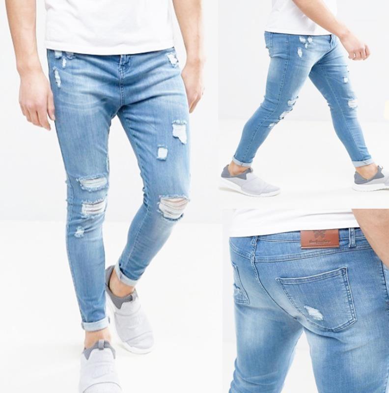 Dril de algodón azul rasgado del motorista flaco pantalones de Jean Hombre Hombres pantalones vaqueros de hombre del diseñador