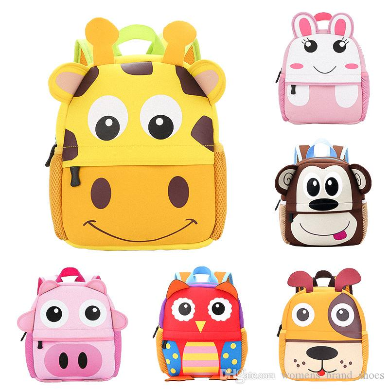 2019 새로운 3D 동물 어린이 백팩 브랜드 디자인 소녀 소년 배낭 유아 아이 네오프렌 학교 가방 유치원 만화 가방