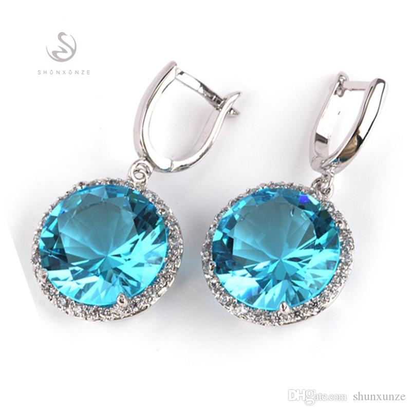 Shunxunze caros berserk brincos de casamento para mulheres acessórios de vestuário dropshipping azul cúbico zircônia ródio chapeado r749