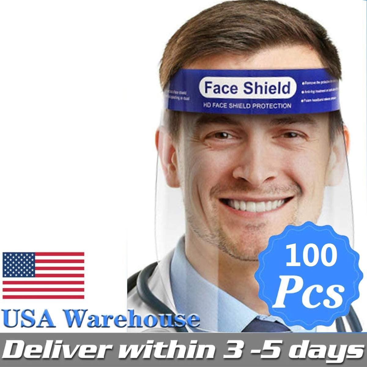 أقنعة الوجه قناع الولايات المتحدة STOCK الدرع المضادة للضباب عزل الكامل واقية مع مطاطا الفرقة الإسفنج عقال HD شفاف PET المضادة سبلاش الغبار