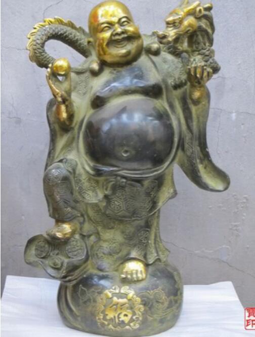 New ++ Dragon Year providential Bronze Pelycosaur Dragon Buddah Maitreya Statue