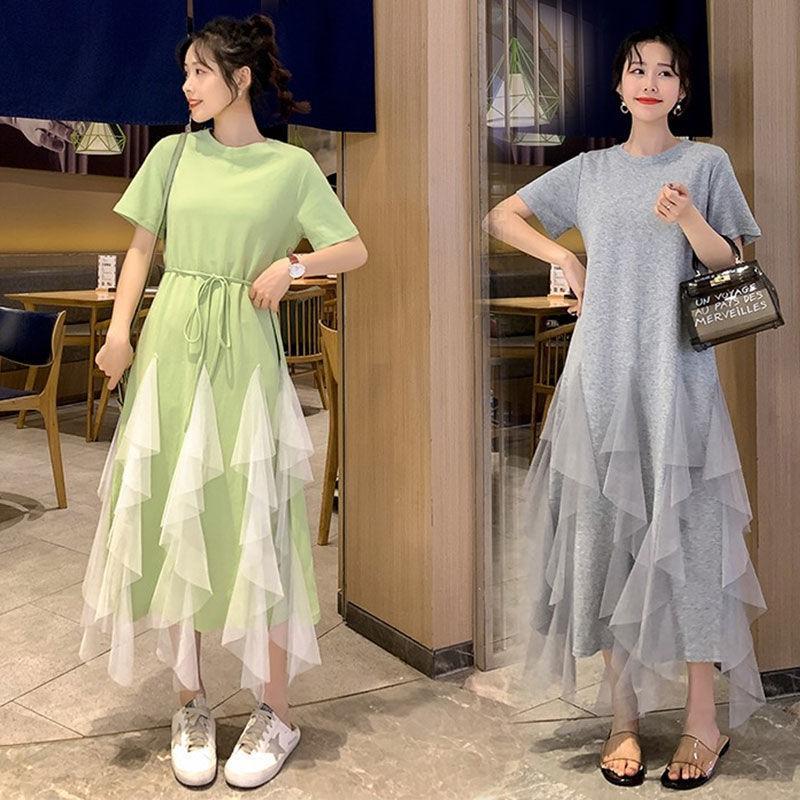 2020 été femme douce maille Patchwork Robes Femme Coton solide Confortable à lacets volants plissés Robes Robes T58