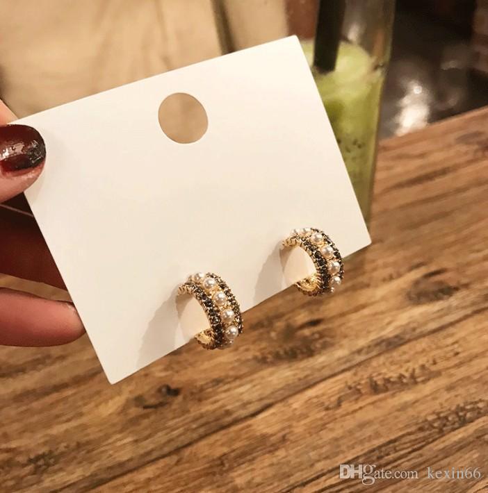 Fashion Korea Dongdaemun pearl c-shaped earrings French retro diamonds pearl s925 silver needle earrings female
