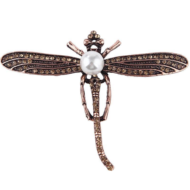 Lussuoso perla del Rhinestone lega Libellula Spilla Pin Spilla Accessori per abbigliamento uomini e donne