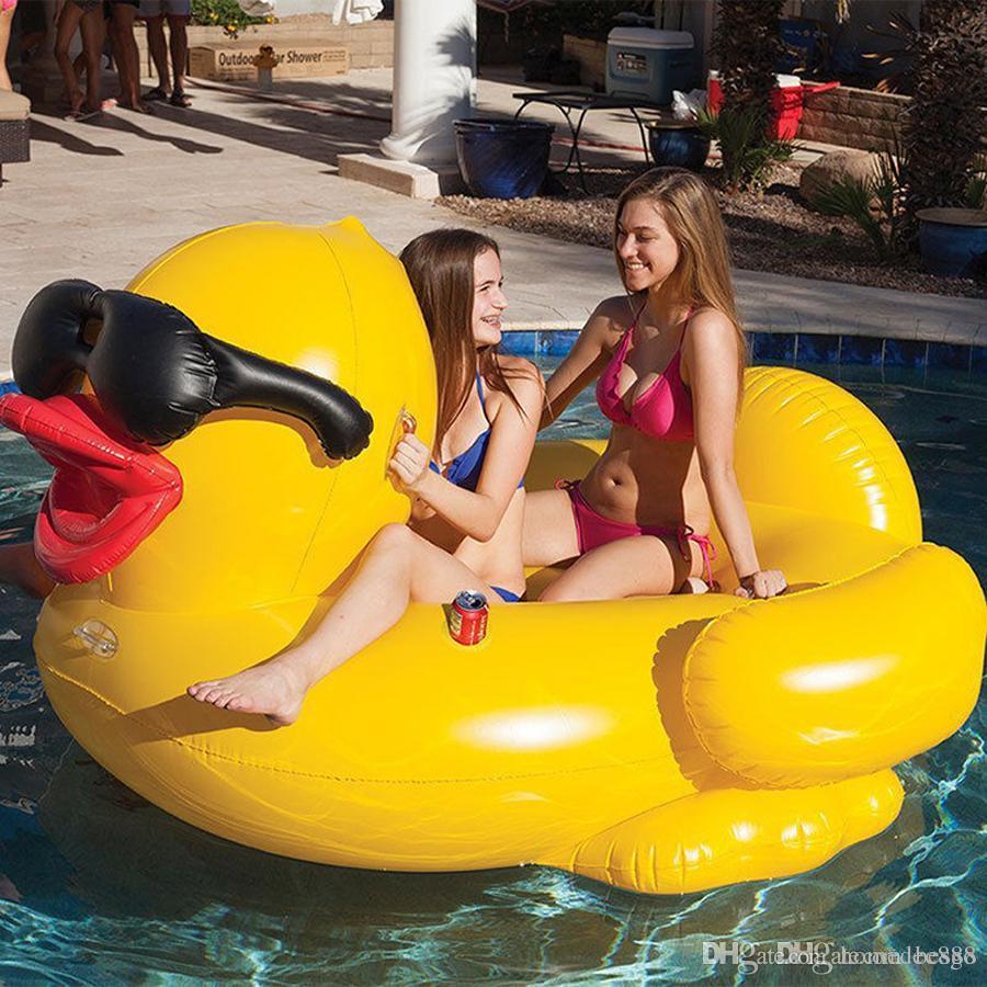 A piscina inflável flutua jangadas natação amarelo com punhos engrossar gigante pvc 82.6 * 70.8 * 43.3inch pato pools flutuadores flutuadores jangada dh1136