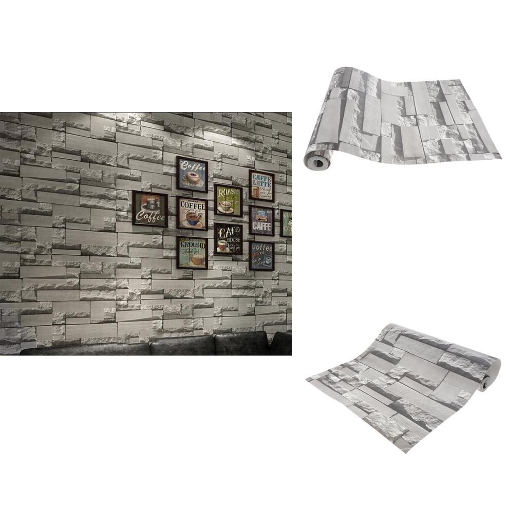 2pcs Non-woven Wall Paper Roll Brick Wallpaper For Living Room TV Background