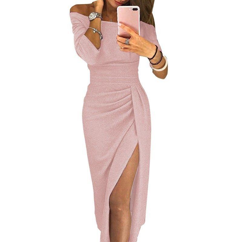 2019 primavera alta fenda sexy party dress mulheres fora do ombro peplum bodycon vestidos elegante brilhante de seda brilhante clube vestidos t190606