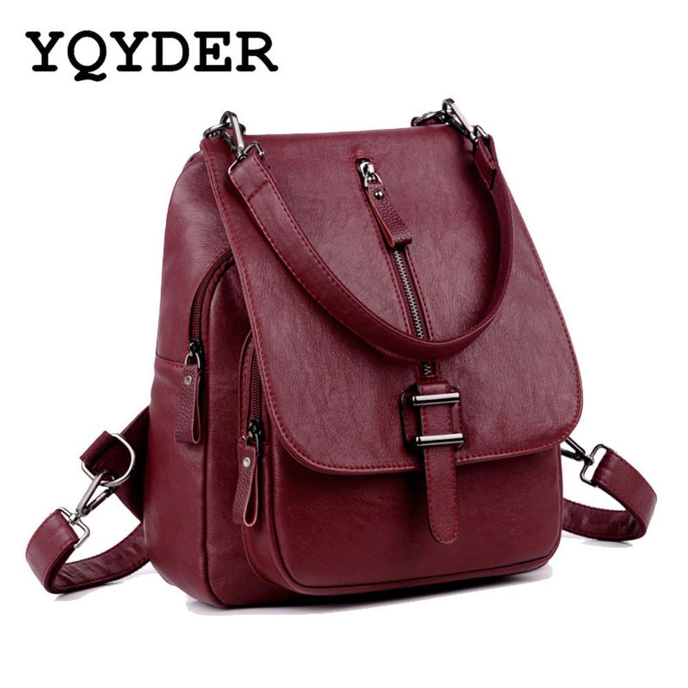 Donne di modo zaini multifunzionali Cinture in pelle pu borsa da scuola di viaggio per le ragazze borse a tracolla solide bagpack femminile Mochila Y19052202