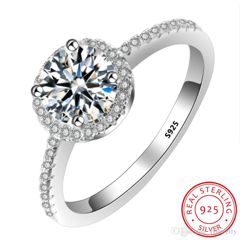100% original Pure 925 Sterling Silver Wedding Rings for women With Round 8mm 2 Ct SONA CZ Diamond Engagement Ring Gift Wholesale XR009