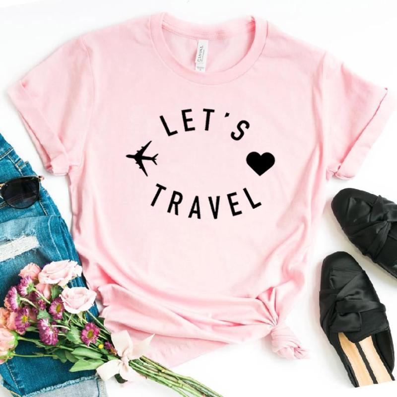 voyage de gros-let les femmes tshirt coton drôle T-shirt décontracté cadeau pour Lady Yong Girl Top Tee 6 couleurs Drop Ship S-800