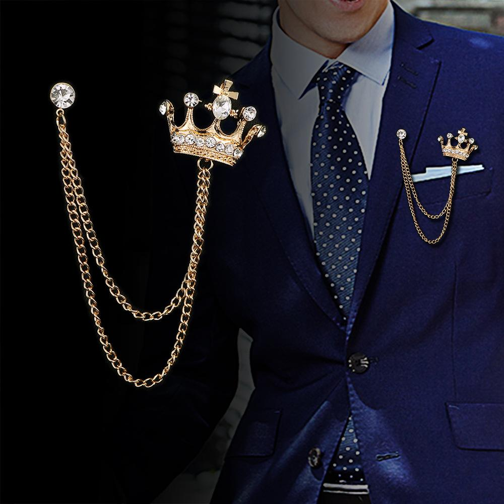 High-end Men's Diamond Brooch Crown Suit Lapel Pin Badge Vintage alloy Crystal Brooch Pins for Man Wedding Jewelry Party gifts