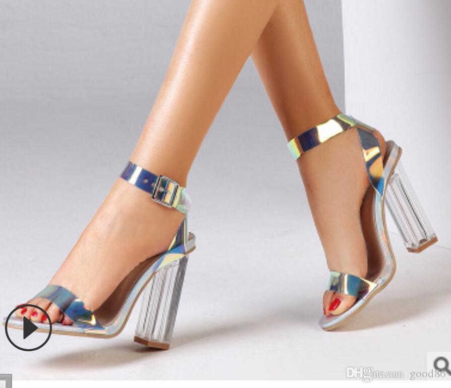 Novo estilo Grande tamanho 35-42 de salto alto com botões, deslumbrantes sandálias das mulheres festa de dança clube de Noite sapatos