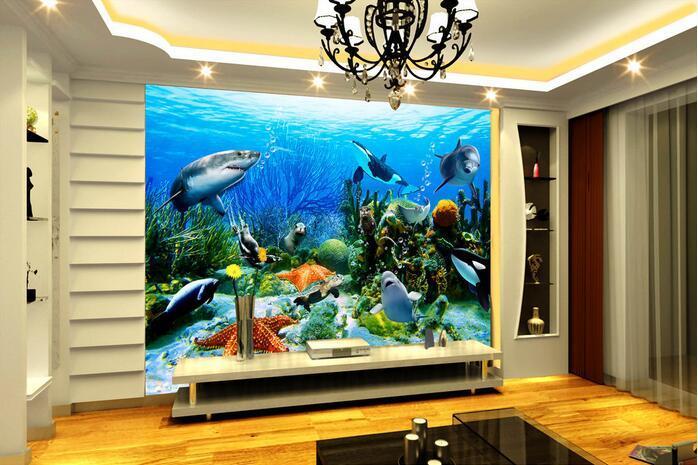 3d комната обои на заказ фото фреска подводный мир Дельфин акула коралловый декор комнаты живопись 3d настенные фрески обои для стен 3 d
