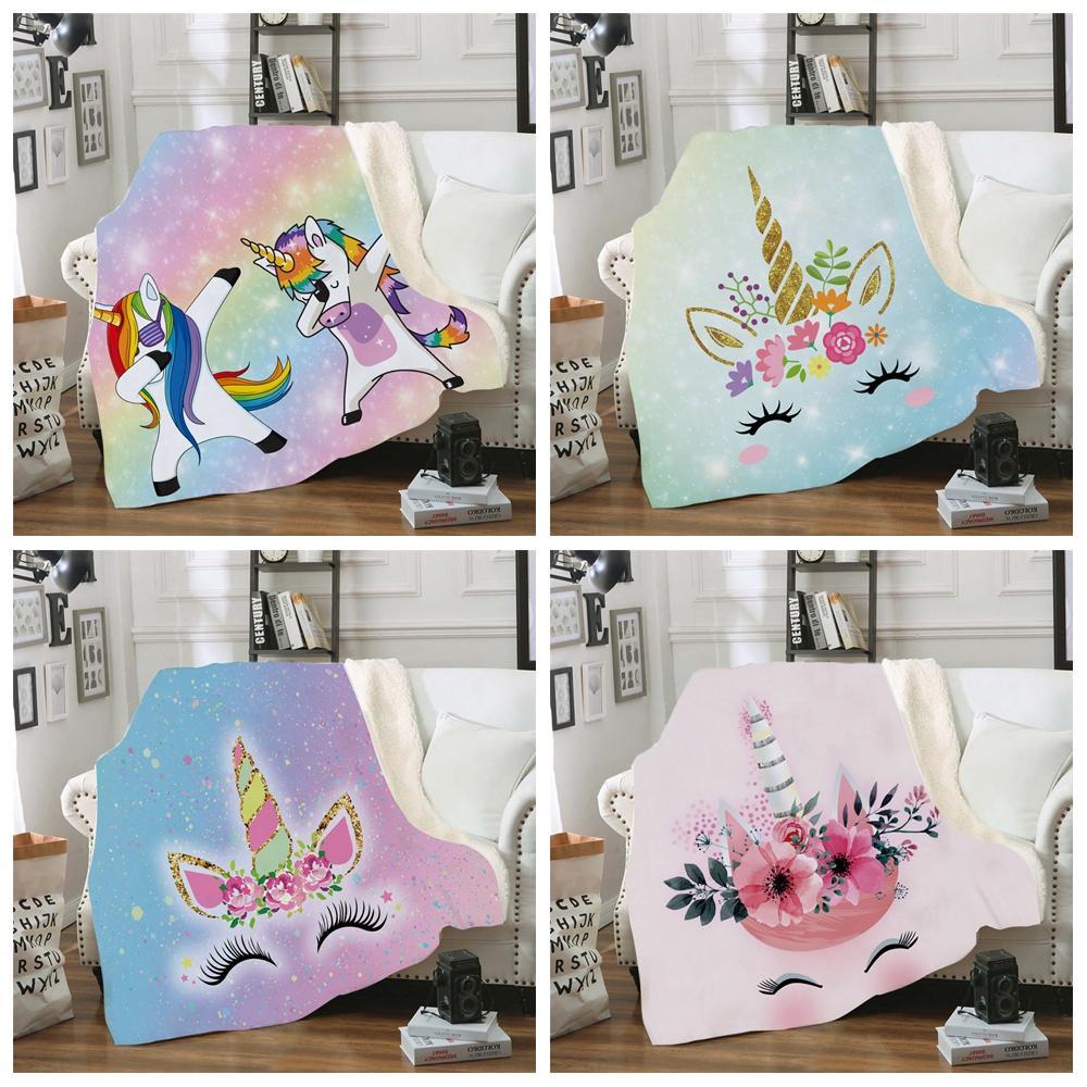 FLEECE 3D Одеяло 150 * 130см Диван Cortoon Unicorn Цифровые печатные диван плюшевые зимние шаль детские бабочки Sherpa Wrap бросить LJJA3029 DTXLE