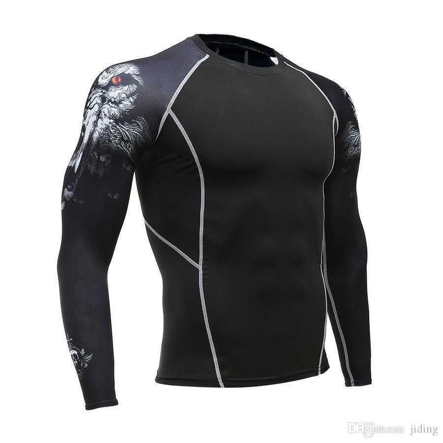 Lobo 3D Ginásio Tshirt Compressão Running Shirt Homens Manga Longa Esporte Top Ginásio de Fitness Camiseta Sportswear Rashguard Jersey MMA