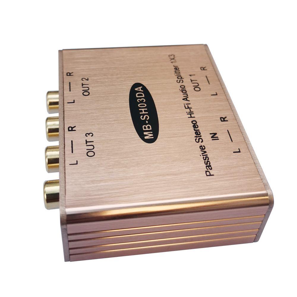 İzole çıkış ile pasif stereo rca ses splitter AV Distribütör 3'te