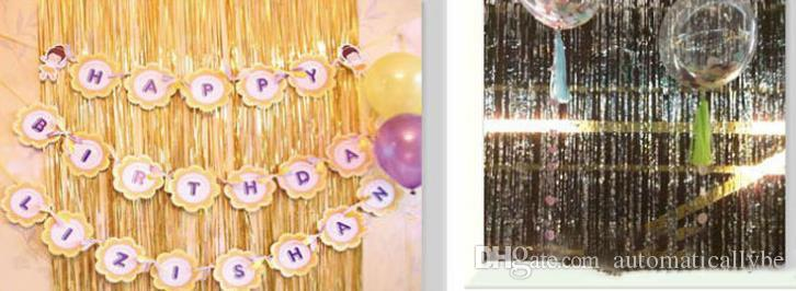 Shimmer Long Metallic Laser Foil Glitter Tinsel Curtain Door Wedding Backdrop Party Decor Venue Layout Photography Background 1m 2m 3m 4m