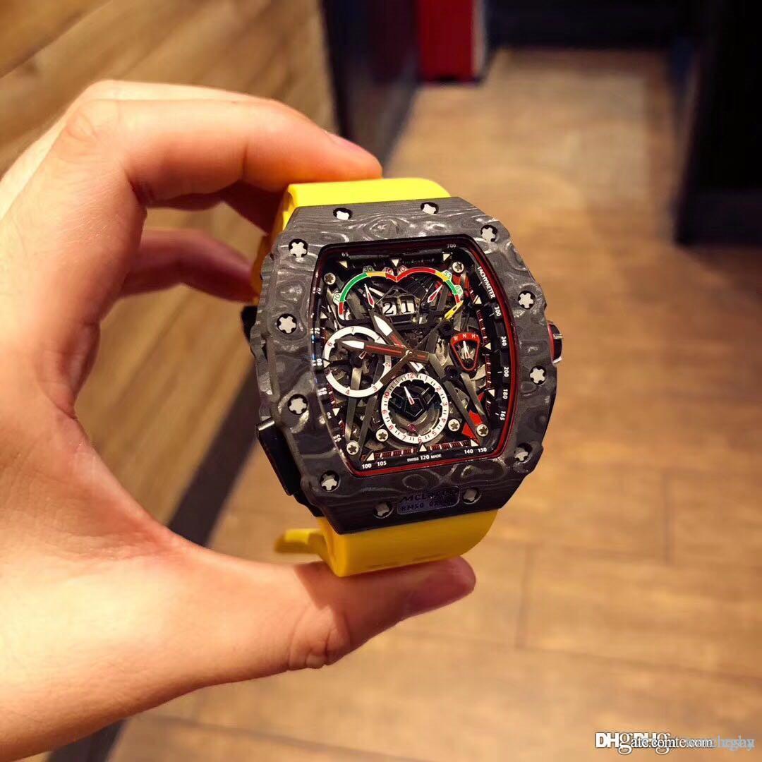 Relógio de alta qualidade de 3A masculino.RM 50-03 modelo.O material é feito de fibra de carbono NTPT.Multi-função automática movimento da máquina.