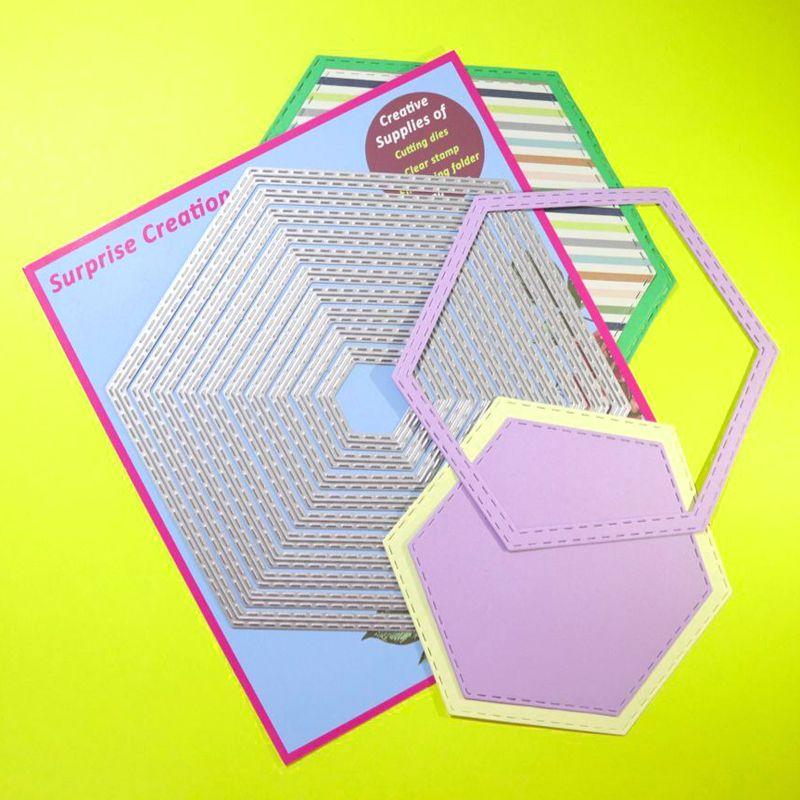 Ampliación de troqueles de corte de 10 piezas cosido Hexágono Álbum de recortes de metal arte de DIY de la plantilla