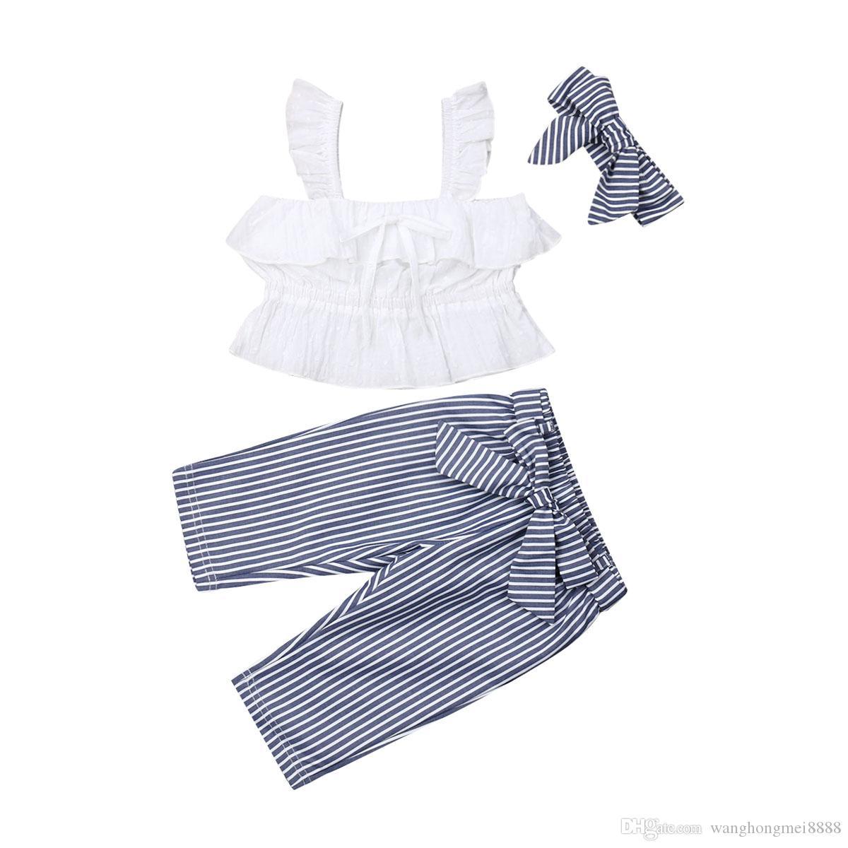 3 Adet Prenses Kız Elbise Set Rahat Yürüyor Çocuk Bebek Kız Beyaz Kolsuz Dantel Yelek Üstleri + Çizgili Yay Pantolon Rahat Kıyafetler