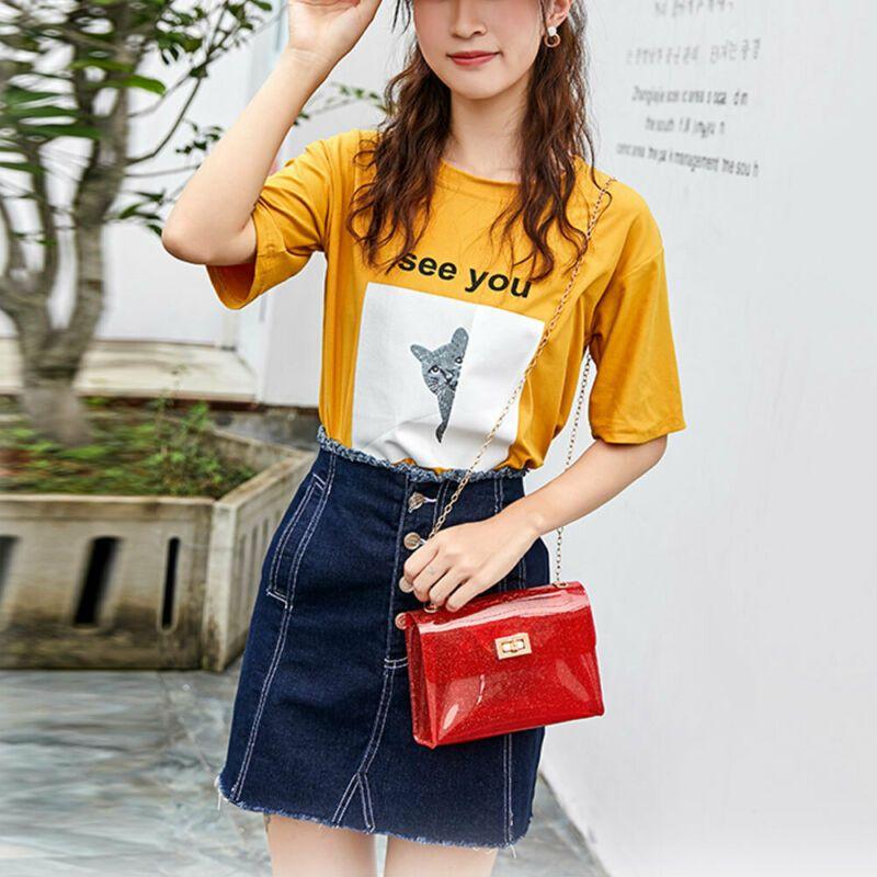 Women/'s PVC Transparent Clear Shoulder Bag Tote Jelly Candy Summer Beacg Handbag