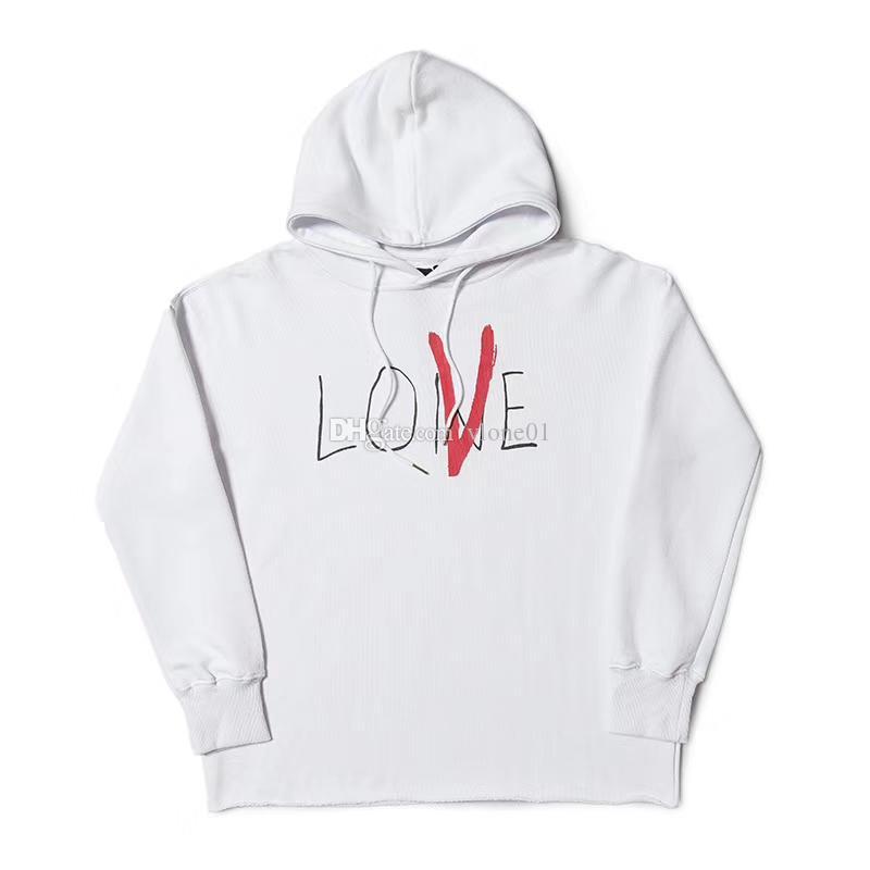 Vlone قلنسوة Vlone الحب الرجال النساء المصمم هوديس أفضل نوعية الأسود الأبيض الرجال المصمم هوديس الحجم S-XL