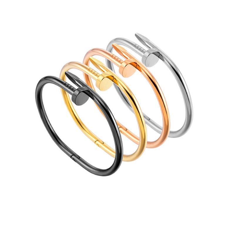 2020 New Jewelry Love screw Bangles 316L Titanium steel with ten cz stone screwdriver bracelets for women men puleiras