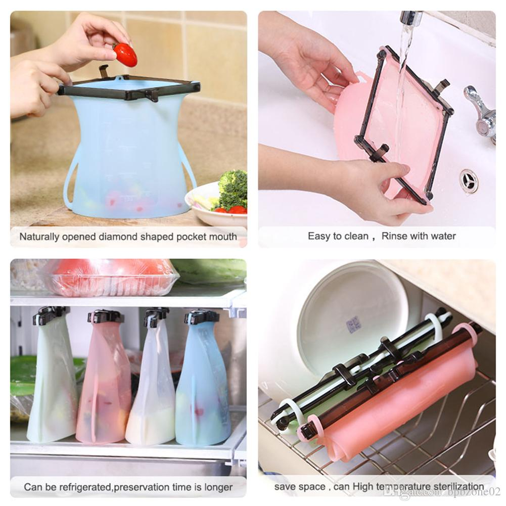 10pcs 1000ml Silicone Food Preservation Bags Vegetables Meat Fruit Milk Refrigeration Storage Container Portable Picnic Food Storages