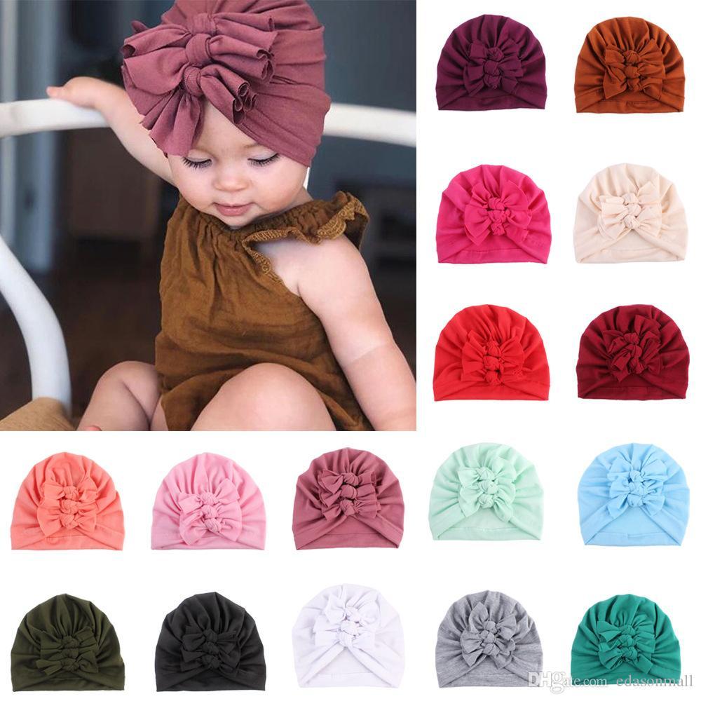 UK Baby Girls Turban Infant Toddler Hat Knot Headbands Beanie Cotton Headwrap