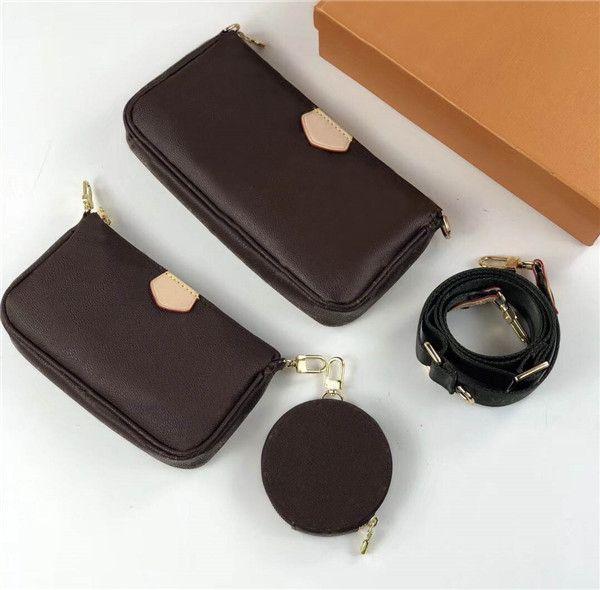 Neue Top-Qualität 5A freies Verschiffen Klassisch Druck 3 in 1 Set Leder weibliche Schultertasche beste Qualität Handtasche 68118 Größe 24cm 13cm 4.5cm