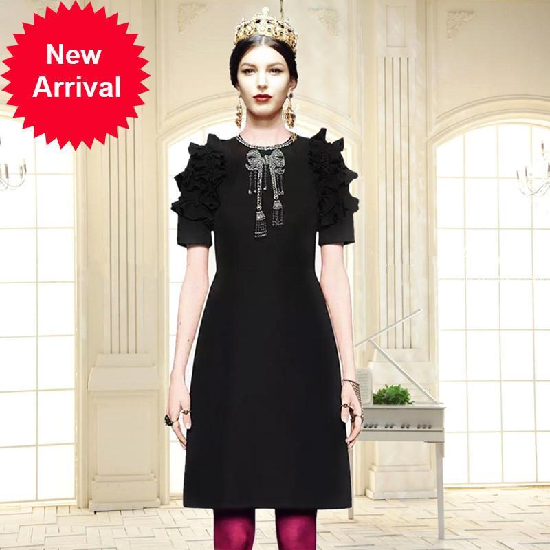 Designer Runway alta qualità 2018 Early Autumn Heavy Nail perla strass Bow spalla Abito manica corta donna femminile Vestidos