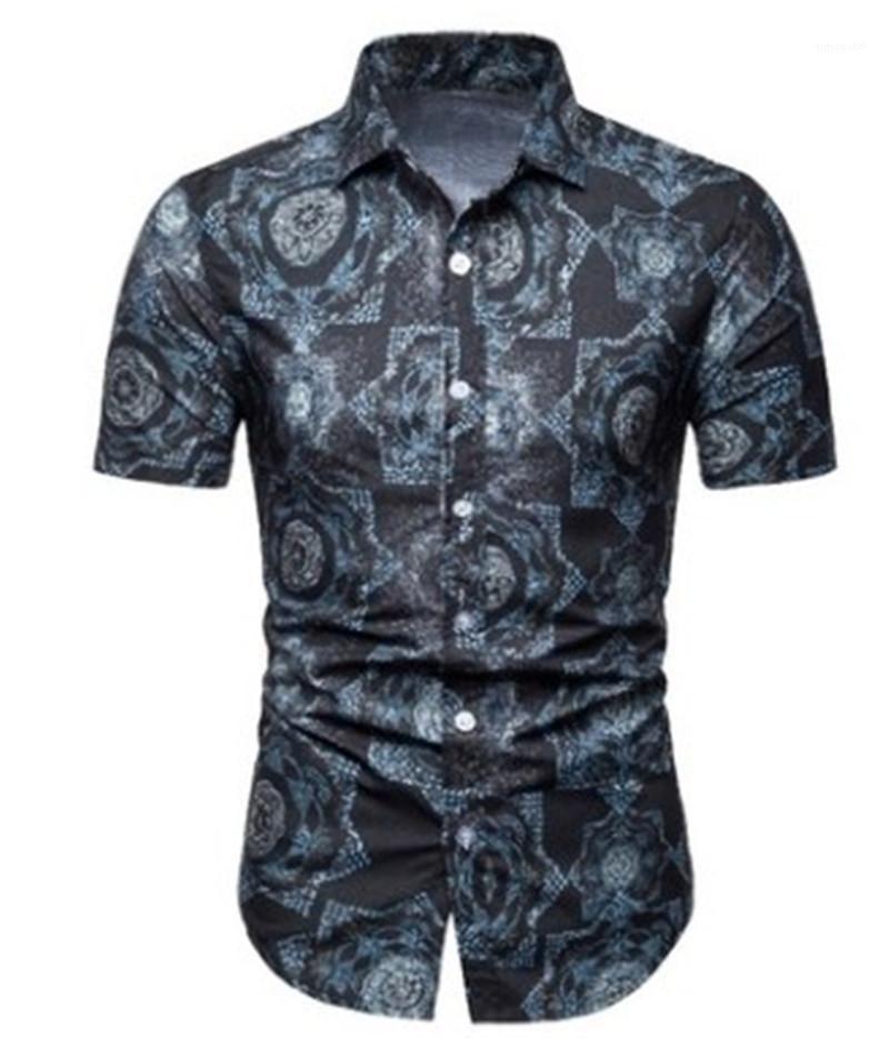 Stampa Camicie gira giù casuale T corta Slim Sleeve Mens monopetto Tops Mens floreale