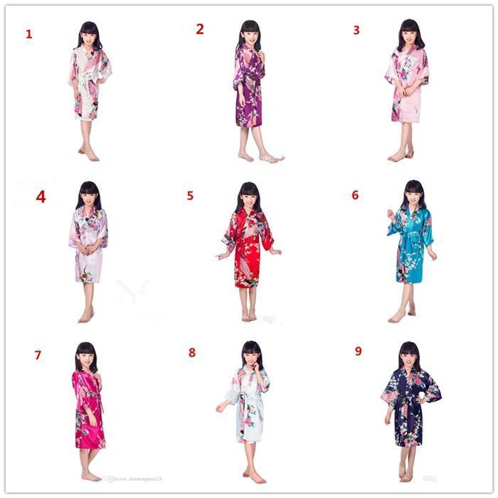 9 colori bambini Solid seta Royan Robe bambine raso pigiama della biancheria degli indumenti da notte del kimono Bagno abito camicia da notte dei pjs M024