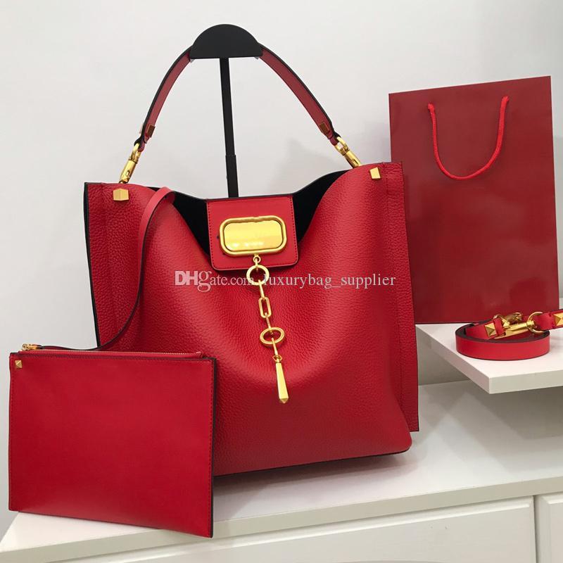 Cubo de los bolsos del bolso de Crossbody bolsas de moda de alta calidad media bolso de compras del hombro bolso de cuero genuino libre del envío Llanura