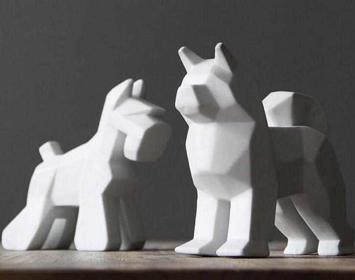 Créatif en céramique chien décor à la maison salle d'artisanat décoration en céramique kawaii ornement porcelaine figurines d'animaux décorations chien statue