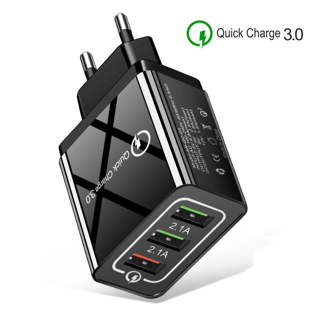 USB carregador de parede QC 3.0 Quick Charge 1 Porto e 3 portas US Plug UE carregamento rápido 3.1A Cellphone Adapter